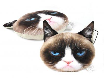 Originální měkoučký nadýchaný polštář ve tvaru hlavy nevrlé kočky s realistickým fototiskem