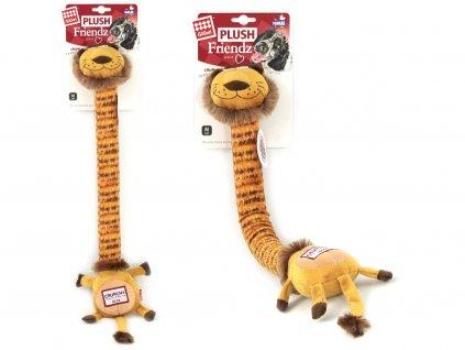 Hračka pro psy – 58 cm dlouhý lev, který při ohýbání a kroucení vydává legrační křupavý zvuk