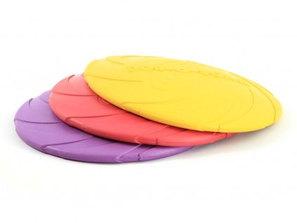 Létající talíř pro psy vyrobený z velmi odolné gumy. Strukturovaný povrch, obruba pro snadný úchop
