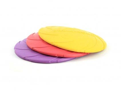 Létající talíř pro malé psy vyrobený z velmi odolné gumy. Strukturovaný povrch, obruba pro snadný úchop