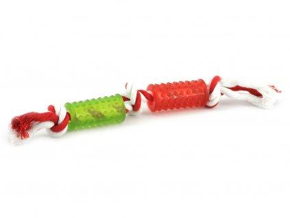 Kousací hračka pro malé a střední psy vyrobená z gumy s ideální tvrdostí, která při kousání stimuluje a masíruje dásně