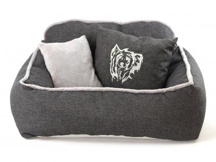 Pelíšek pro psy s polštářkem ze speciální edice HafHaf-shop, šedý s výšivkou