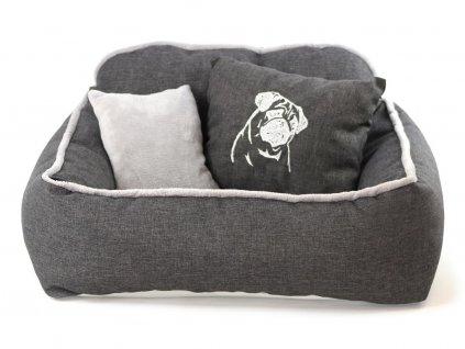 Pelíšek pro psy s polštářkem ze speciální edice HafHaf-shop, šedý