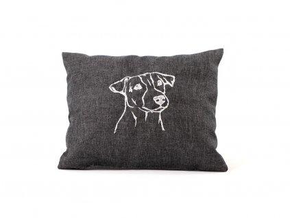 """Ručně šitý měkoučký polštář s originální výšivkou ze speciální edice """"Jack Russell teriér"""