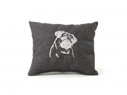 """Ručně šitý měkoučký polštář s originální výšivkou ze speciální edice """"Mops"""""""