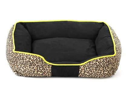 Pelíšek pro psy ROKVEL s elegantním leopardím potiskem. Široké nadýchané bočnice, potah lze sundat…