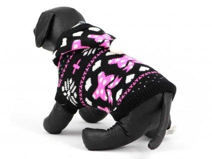 Obleček pro psy i fenky – černobílý pletený svetr s růžovým vzorem od URBAN PUP