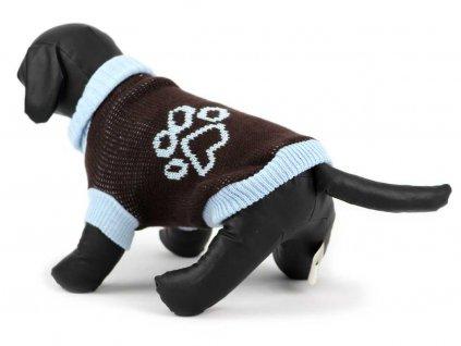 Obleček pro psy i fenky – hnědý pletený svetr s modrými lemy od URBAN PUP