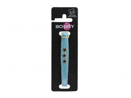 Luxusní kožený obojek pro kočky BOBBY – modrý se zlatými hvězdami. Klasické zapínání s bezpečnostní gumou, univerzální velikost.