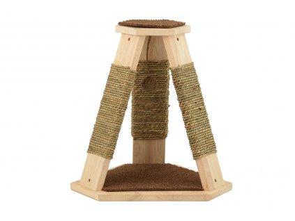 Škrábadlo pro kočky se třemi sloupky s opletem z přírodní mořské trávy a dvěma plošinami.