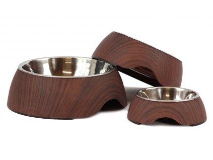 Nerezová miska pro psy v originálním stojanu s povrchovou úpravou v designu tmavého dřeva, vhodná na vodu i krmivo.