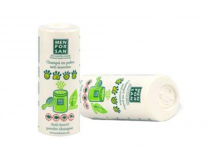 Suchý šampón s repelentem pro psy, kočky a další domácí mazlíčky pro udržení čisté srsti bez použití vody.