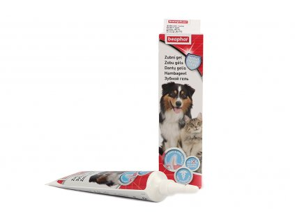 BEAPHAR zubní gel s aplikátorem pro psy a kočky zajistí čisté zuby a svěží dech bez použití kartáčku. Atraktivní játrová příchuť, objem 100 ml.