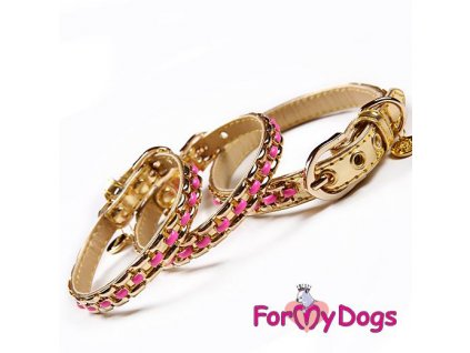Luxusní kožený obojek pro psy se zlatým arůžovým zdobením