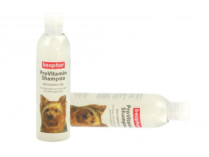 Šampón pro psy BEAPHAR s unikátním komplexem pro obnovu jemné a poškozené srsti. Jojobová a šípková vůně, objem 250 ml.