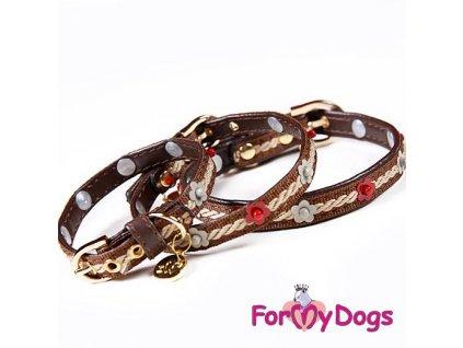 Luxusní kožený obojek pro psy svyšíváním a zdobením