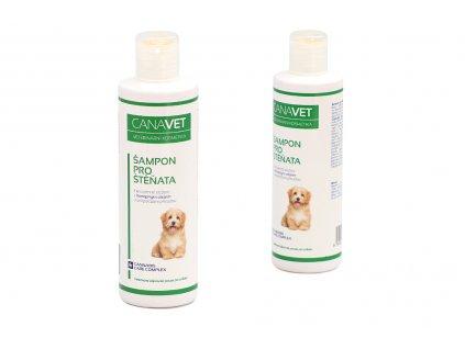 Šampón pro štěňata CANAVET s Cannabis Care Complexem a antiparazitní přísadou určený pro péči o citlivou srst a pokožku štěňat. Objem 250 ml.