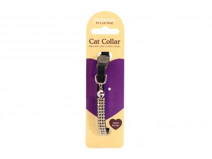 """Stylový obojek pro kočky ROSEWOOD – černý s rolničkou a """"diamanty"""". Bezpečnostní plastová spona, univerzální velikost."""