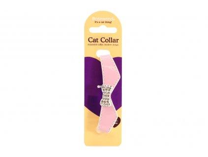 """Stylový obojek pro kočky ROSEWOOD – růžový s rolničkou a """"diamanty"""". Klasické zapínání s bezpečnostní gumou, univerzální velikost."""