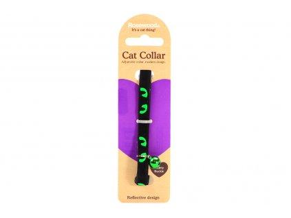 Stylový obojek pro kočky ROSEWOOD z černého semiše se zelenými reflexními prvky. Bezpečnostní plastová spona, univerzální velikost.