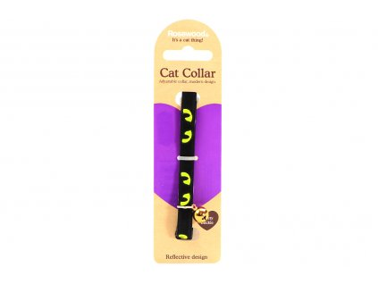 Stylový obojek pro kočky ROSEWOOD z černého semiše se žlutými reflexními prvky. Bezpečnostní plastová spona, univerzální velikost.