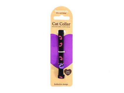 Stylový obojek pro kočky ROSEWOOD z černého semiše s růžovými reflexními prvky. Bezpečnostní plastová spona, univerzální velikost.
