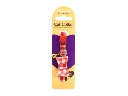 Stylový obojek pro kočky ROSEWOOD – červenobílý s mašlí a rolničkou. Bezpečnostní plastová spona, univerzální velikost.