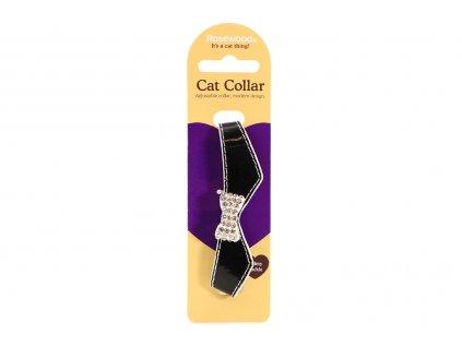 """Stylový obojek pro kočky ROSEWOOD – černý s rolničkou a """"diamanty"""". Klasické zapínání s bezpečnostní gumou, univerzální velikost."""