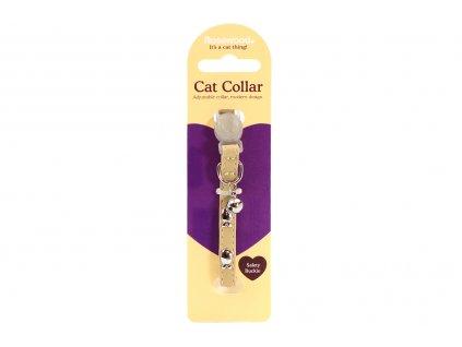 """Stylový obojek pro kočky ROSEWOOD – sv. hnědý s rolničkou a """"stříbrnými"""" rybkami. Bezpečnostní plastová spona, univerzální velikost."""