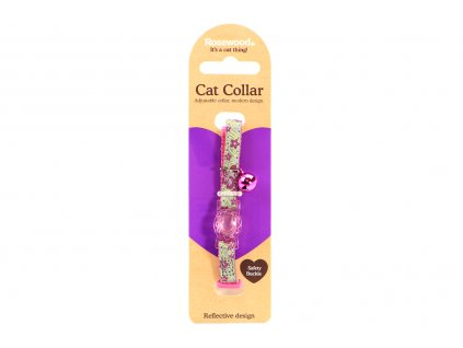 Stylový obojek pro kočky ROSEWOOD s fialovým květinovým vzorem a reflexními prvky. Bezpečnostní plastová spona, univerzální velikost.