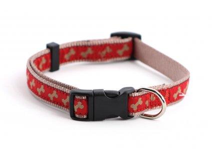 Obojek pro psy ROSEWOOD Red/Beige Bone z vysokopevnostního nylonu s odolnou rychlozapínací sponou. Výběr velikostí pro všechna plemena psů.