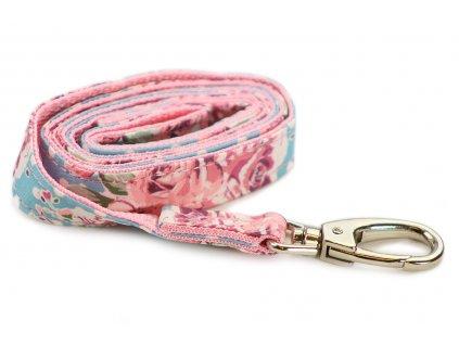 Originální vodítko pro psy z kolekce URBAN PUP Vintage Rose z pevného vzdušného materiálu. Délka 110 cm, šířka 2 cm.