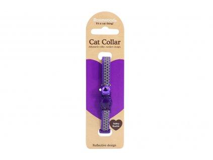 Stylový obojek pro kočky ROSEWOOD – fialovošedý s puntíky a rolničkou. Reflexní prvky, bezpečnostní plastová spona, univerzální velikost.