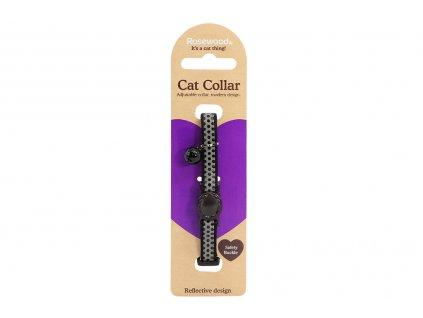 Stylový obojek pro kočky ROSEWOOD – černošedý s puntíky a rolničkou. Reflexní prvky, bezpečnostní plastová spona, univerzální velikost.