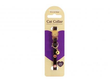 Stylový obojek pro kočky ROSEWOOD – hnědý s rolničkou a kovovými ozdobami. Bezpečnostní plastová spona, univerzální velikost.