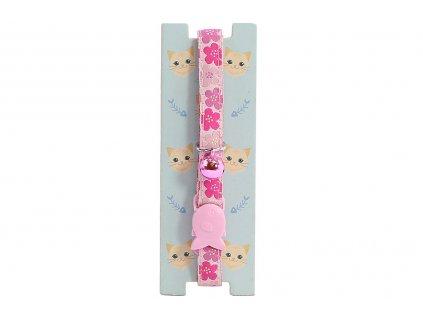 Stylový obojek pro kočky PET LONDON s růžovým květinovým vzorem a rolničkou. Bezpečnostní plastová spona, univerzální velikost.