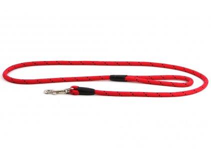 Provazové vodítko pro psy ROSEWOOD Rope Twist z pevného nylonu. Vodítko má kruhový průřez a je opatřené pevnou pochromovanou karabinou. Délka 1,55 m, barva červená.