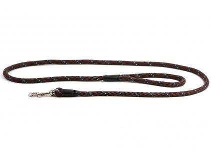 Provazové vodítko pro psy ROSEWOOD Rope Twist z pevného nylonu. Vodítko má kruhový průřez a je opatřené pevnou pochromovanou karabinou. Délka 1,55 m, barva tm. hnědá.