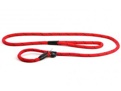 Provazové vodítko pro psy s obojkem ROSEWOOD Twist Slip z pevného nylonu. Kruhový průřez, pevná pochromovaná karabina. Délka 1,55 m, barva červená.