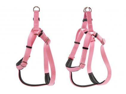 Kvalitní postroj pro psy z vysokopevnostního nylonu od ROSEWOOD. Rychlozapínání na pevnou sponu, nastavitelné rozměry, barva růžová.