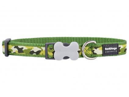 Obojek pro psy od Red Dingo. Praktický obojek z pevného nylonu s odolnou sponou a nerez kroužkem, vzor Camouflage Green.