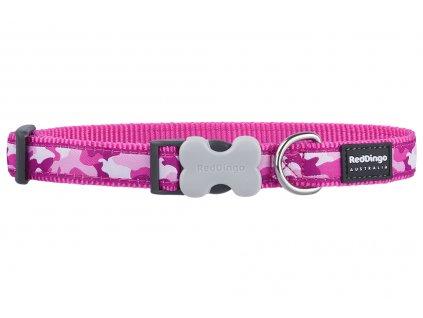 Obojek pro psy od Red Dingo. Praktický obojek z pevného nylonu s odolnou sponou a nerez kroužkem, vzor Camouflage Pink.