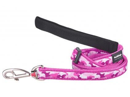 Růžové vodítko pro psy od RD. Měkký polstrovaný úchop, snadné nastavení délky od 1 do 1,8 m, výměnná karabina. Vzor Camouflage Pink.