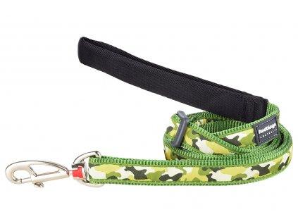 Zelené vodítko pro psy od RD. Měkký polstrovaný úchop, snadné nastavení délky od 1 do 1,8 m, výměnná karabina. Vzor Camouflage Green.