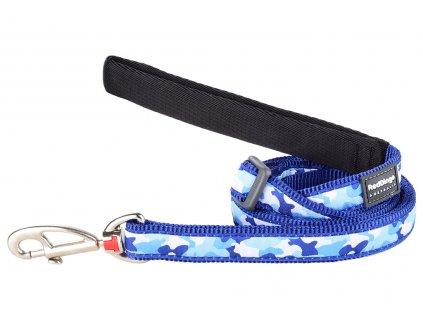 Modré vodítko pro psy od RD. Měkký polstrovaný úchop, snadné nastavení délky od 1 do 1,8 m, výměnná karabina. Vzor Camouflage Navy.