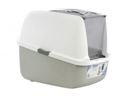 Velká krytá toaleta – WC pro kočky s uhlíkovým filtrem pro odstranění zápachu. WC je dostatečně velké i pro dospělé kočky. Barva šedá.