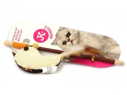 Oblíbená hra pro kočky – udice s hračkou ve tvaru ptáčka s dlouhými pírky. Hračka je plněná kvalitním catnipem, délka cca 20 cm.