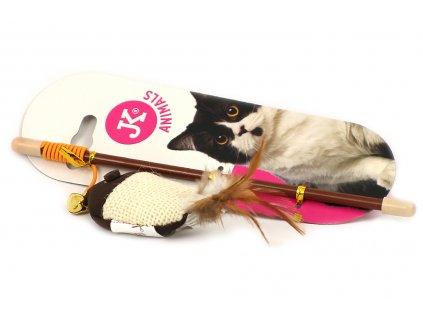Oblíbená hra pro kočky – udice s bavlněnou hračkou ve tvaru rybky s dlouhými pírky. Hračka je plněná kvalitním catnipem, délka cca 20 cm.