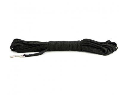 Stopovací vodítko pro psy z plochého splétaného nylonu s pevnou karabinou. Délka 15 m, šířka lanka 14 mm, karabina 7 cm, barva černá.