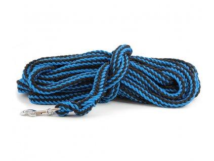Stopovací vodítko pro psy ze splétaného nylonu s pevnou karabinou. Délka 10 m, průměr lanka 19 mm, karabina 7 cm, barva modro-černá.